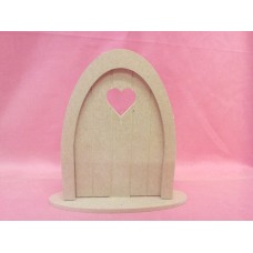 4mm MDF  Grooved Fairy Door with Heart and base PK5